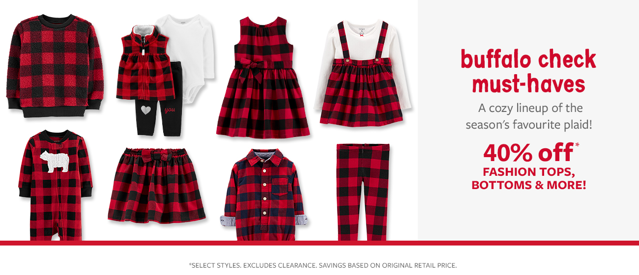 buffalo check must-haves   a cozy lineup of the seasons favourite plaid!   40% off fashion tops, bottoms & More!