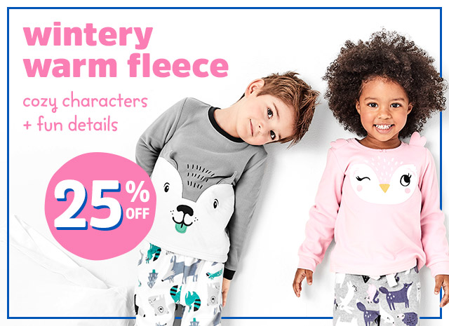 Wintery warm fleece   cozy characters + fun details 25% off