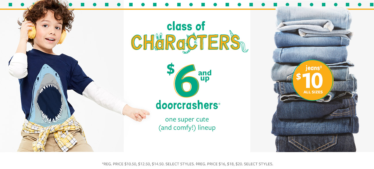 class of characters | $6 & up doorcrashers | one super cute (and comfy!) lineup