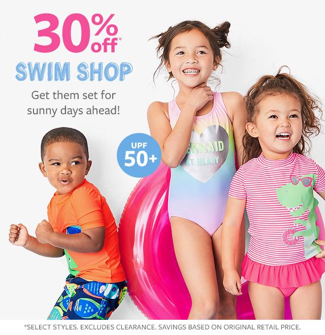 30% off swim shop get them set for sunny days ahead!