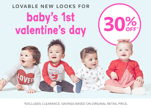 lovable new looks for baby's 1st valentine's day 30% off