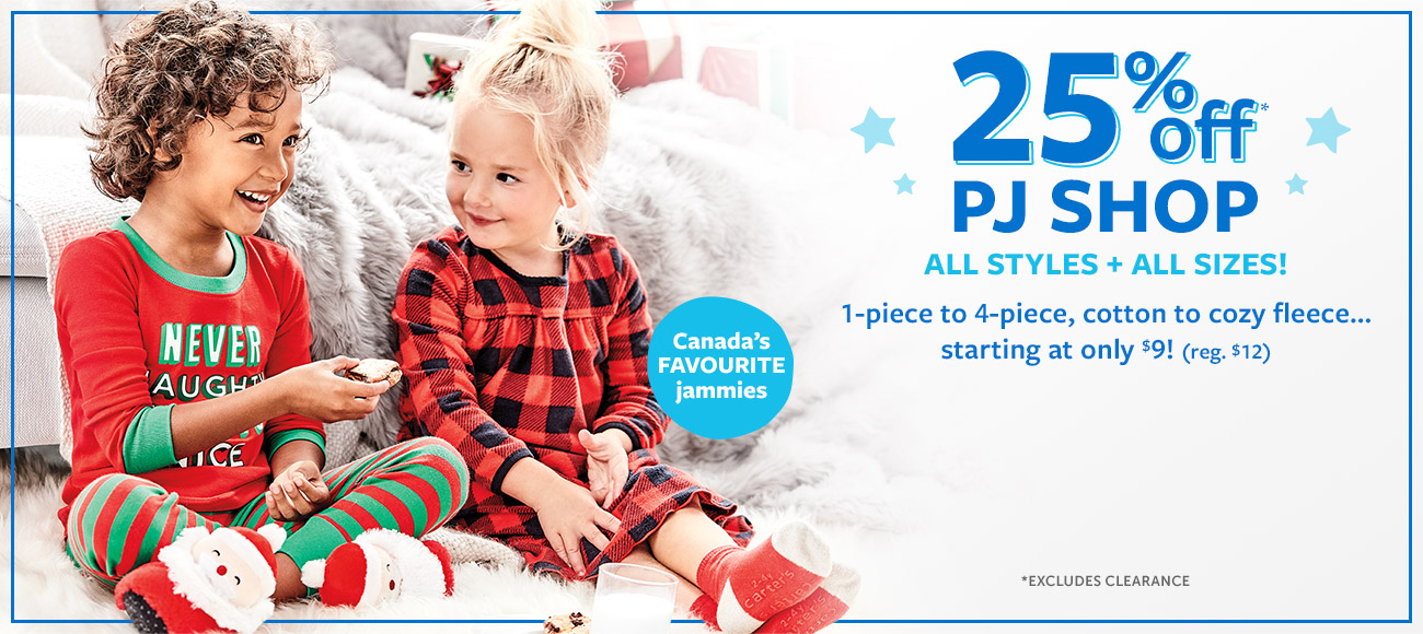25% off PJ SHOP | ALL STYLES + ALL SIZES! | 1-piece to 4-piece, cotton to cozy fleece starting at only $9! (reg. $12)
