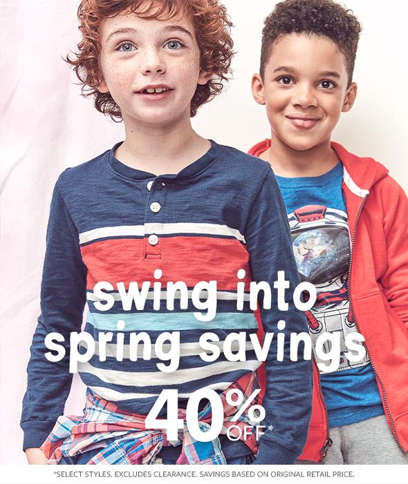 swing into spring savings 40% off