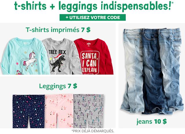 t-shirt + leggings indispensables! | t-shirt imprimés 7 $ | leggings 7 $ | jeans 10 $