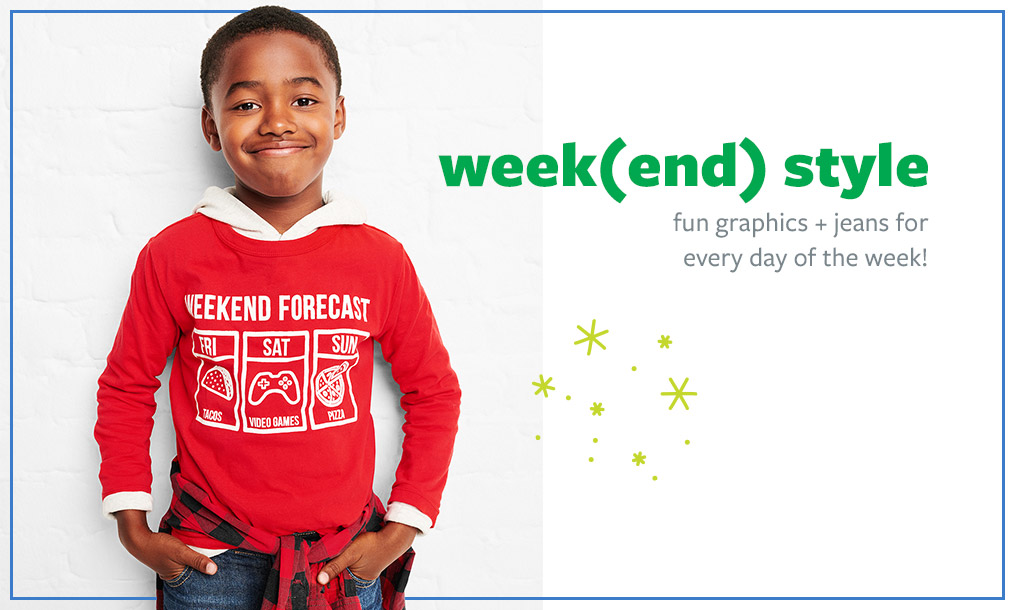 week(end) style   fun graphics + jeans for every day of the week!