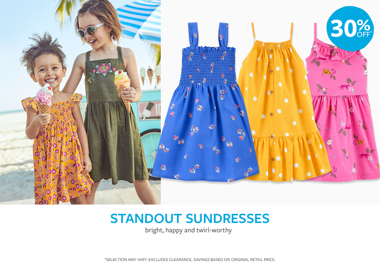 30% off | standout sundresses | bright, happy and twirl-worthy