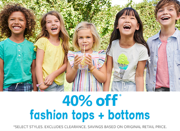 fashion tops + bottoms 40% off
