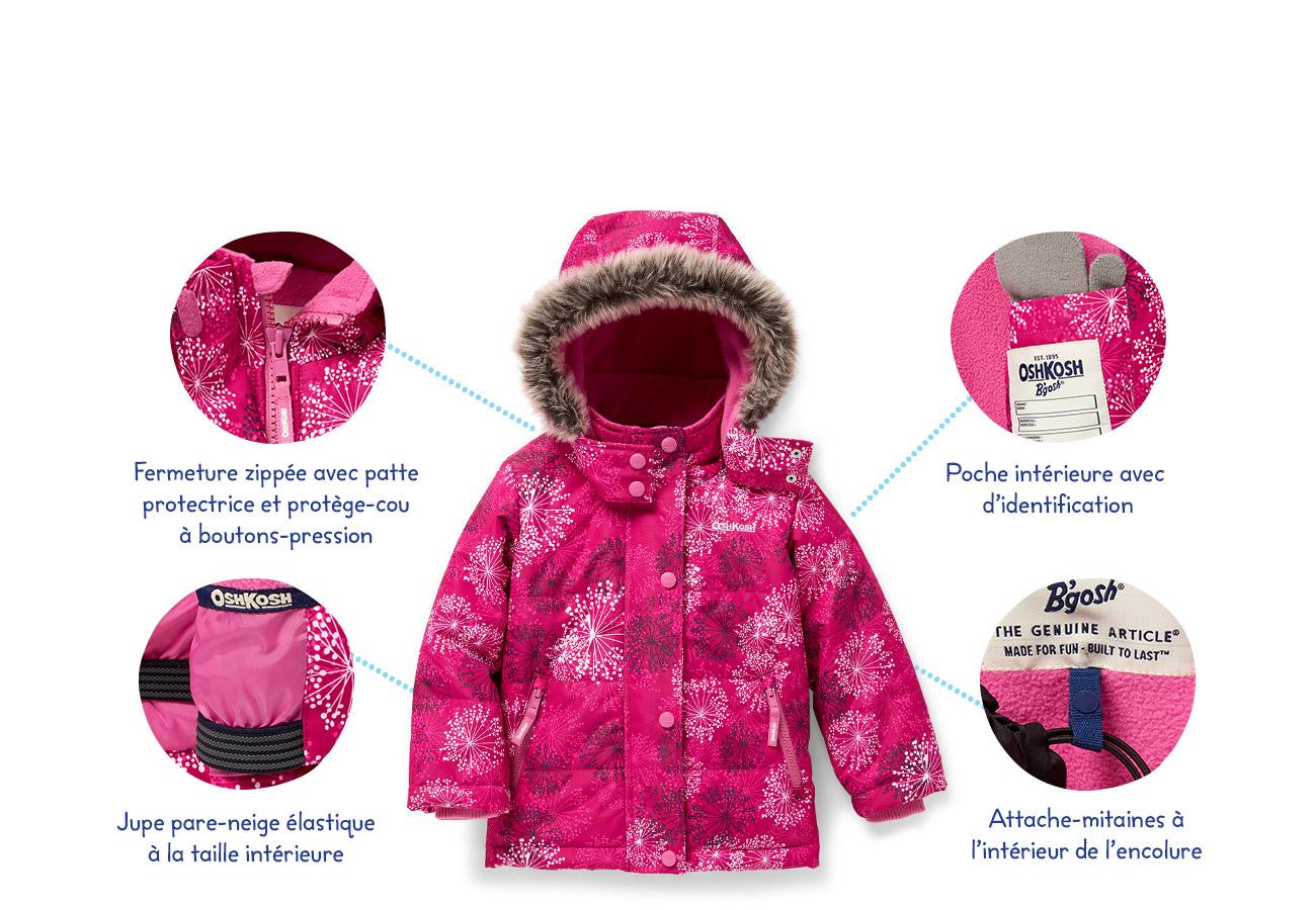 Fermeture zippée avec patte protectrice et protège-cou à boutons-pression   Jupe pare-neige élastique à la taille intérieure   Poche intérieure avec d'identification   Attache-mitaines à l'intérieur de l'encolure