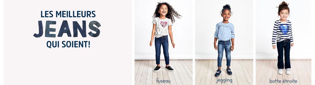LES MEILLEURS JEANS QUI SOIENT! Tous les coupes, délavages eet tailles dont elle a besoin. Trouvez le jeans parfait pour votre bébé fille! fuseau | jegging | botte étroite