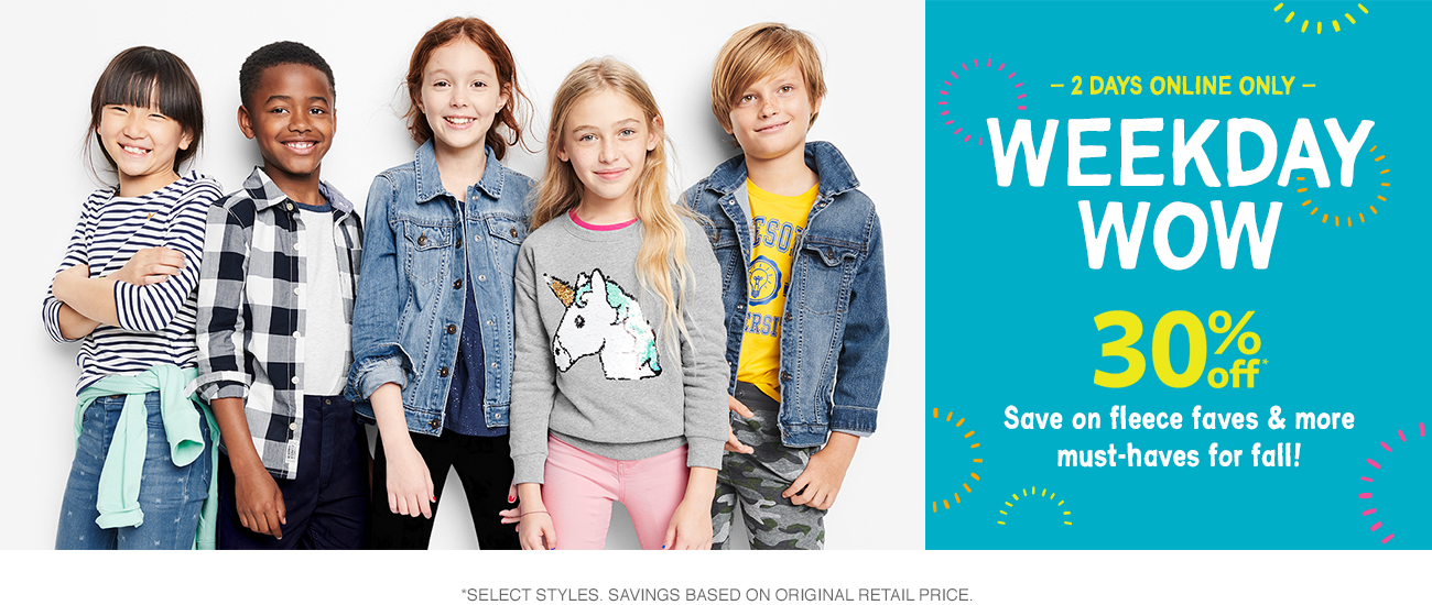 30% off weekday wow! save on fleece faves & more must h-have for fall!