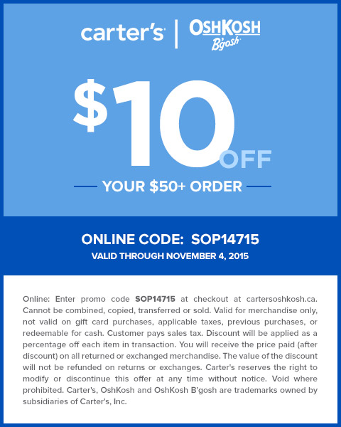 picture about Oshkosh Printable Coupon known as Carters Promo Code Coupon Carters OshKosh Canada