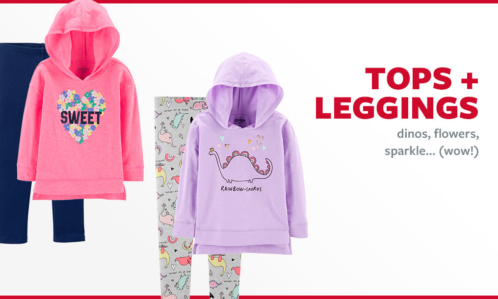 tops + leggings | dinos, flowers, sparkle...(wow!)