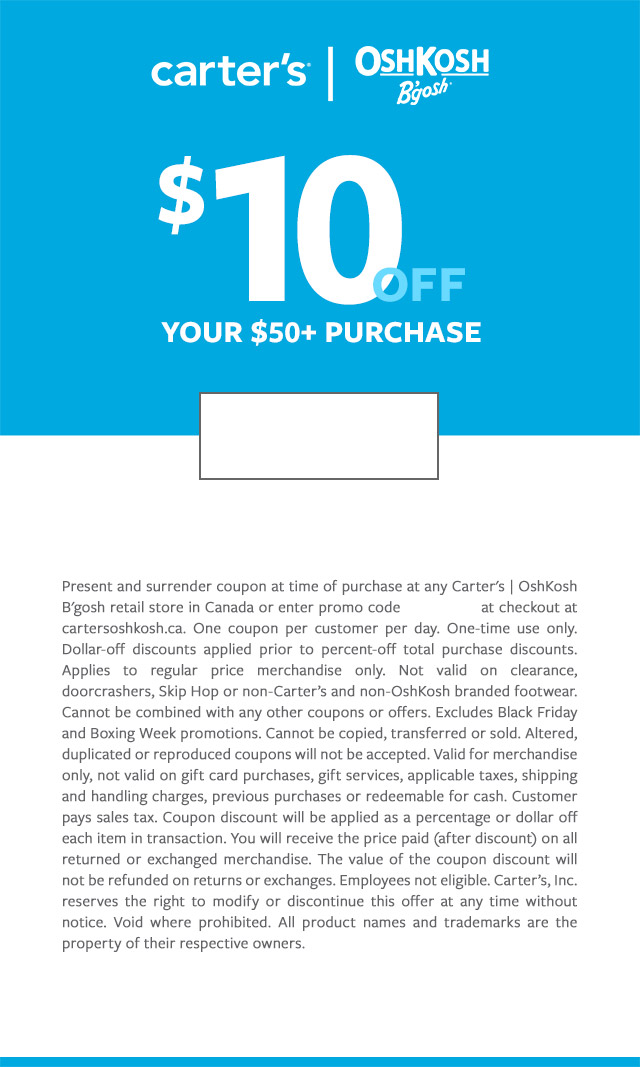 $10 off your $50+ purchase with online code: SOP11862. Valid through JANUARY 31, 2020