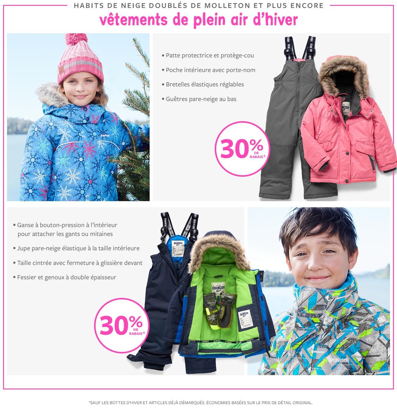 30% de rabais   habits de neige doublés de molleton et plus encore vêtements de plein air d'hiver