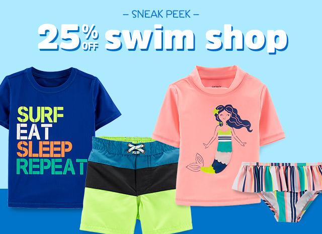 Sneak peak   25% off swim shop