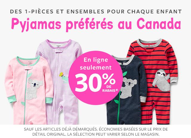 des 1-pièces et ensembles pour chaque enfant pyjamas préférés au canada 30% de rabais