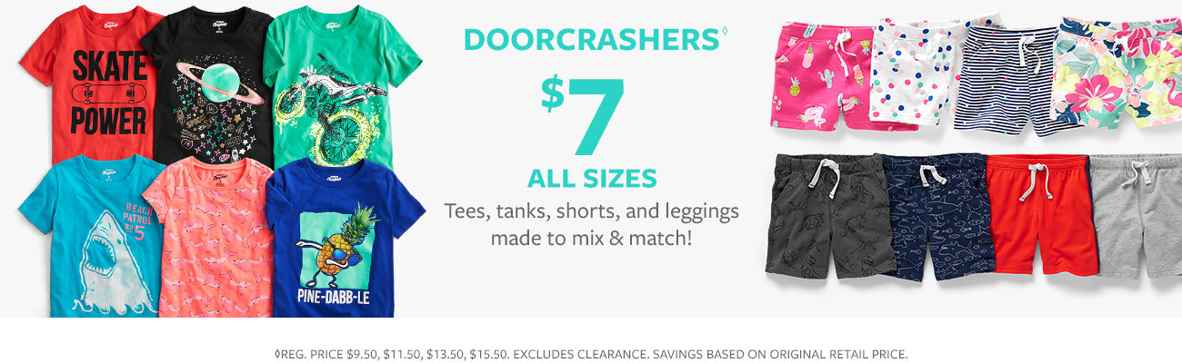 doorchrashers $ 7 and up all sizes | tees, tanks, shorts and leggings made to mix & match!