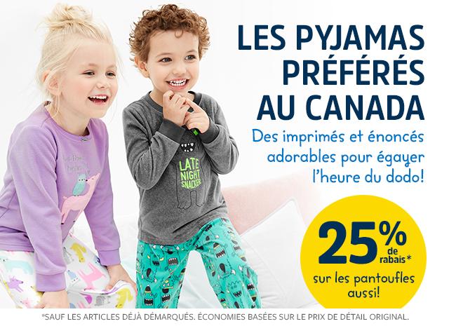 les pyjamas 25% de rabais