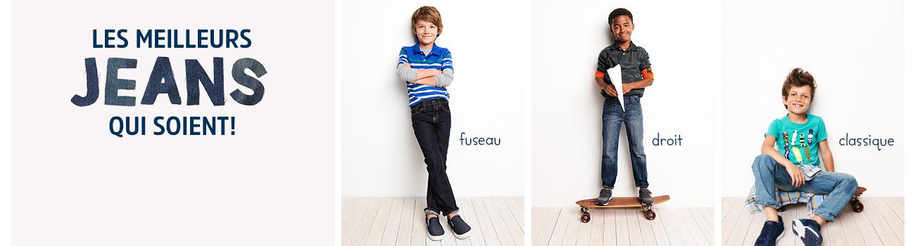 LES MEILLEURS JEANS QUI SOIENT! Des jeans pour garçons dans des coupes pour chaque enfant et des modèles pour chaque jour, conçus pour faire (quasiment) tout. fuseau | droit | classique