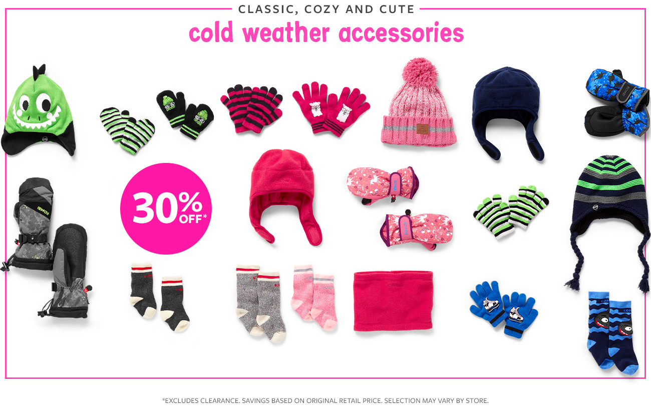 classic, cozy and cute cold weather accessories   30% off