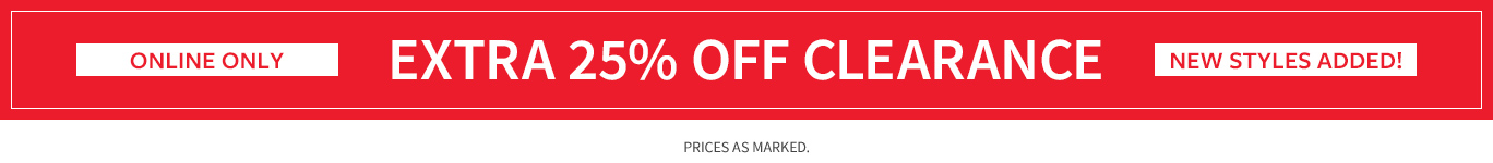 Extra Clearance 25% off