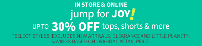 up to 30% off tops, shorts & more
