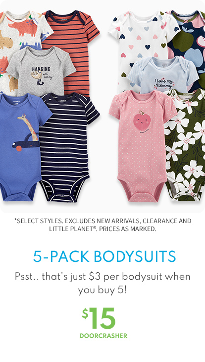 5-pack bodysuits $15 doorcrasher