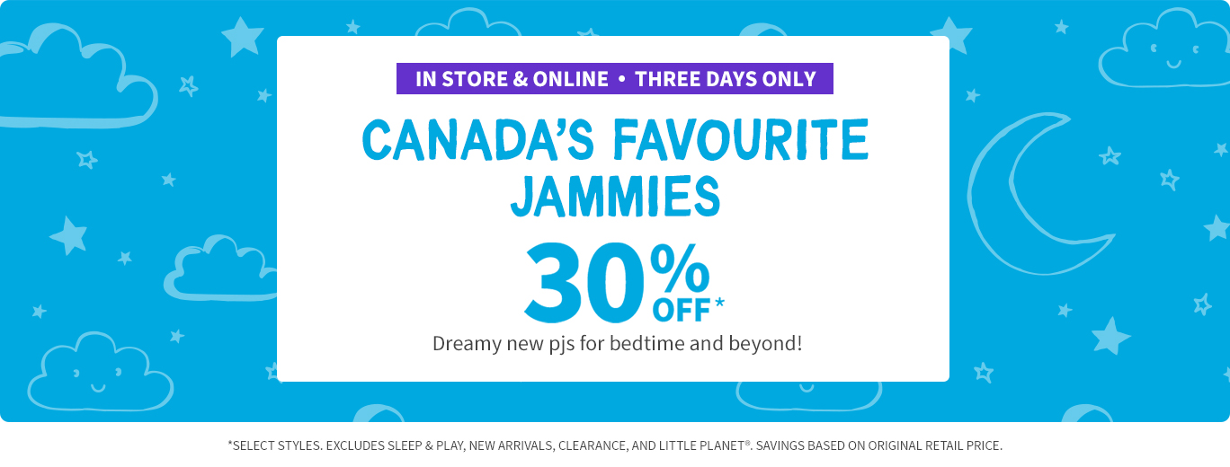 Jammies 30% off