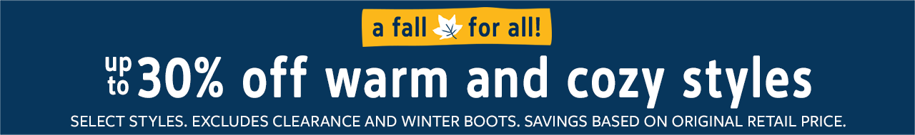 A Fall For All | up to 30% off warm and cozy styles