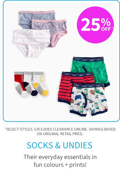 socks and undies 25% off*