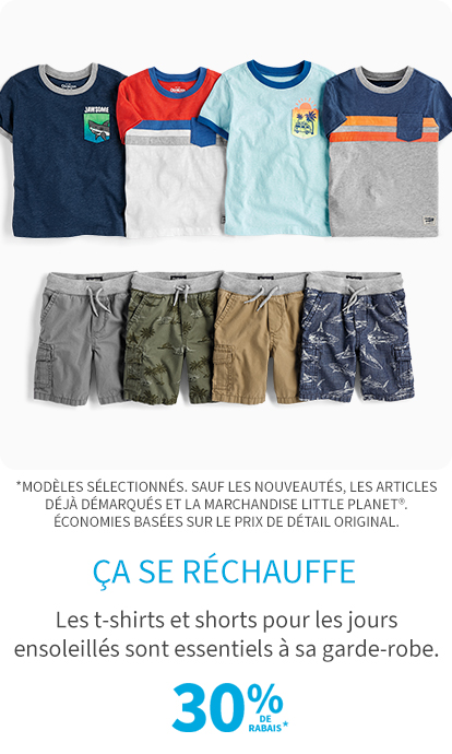 30% de rabais t-shirts & shorts