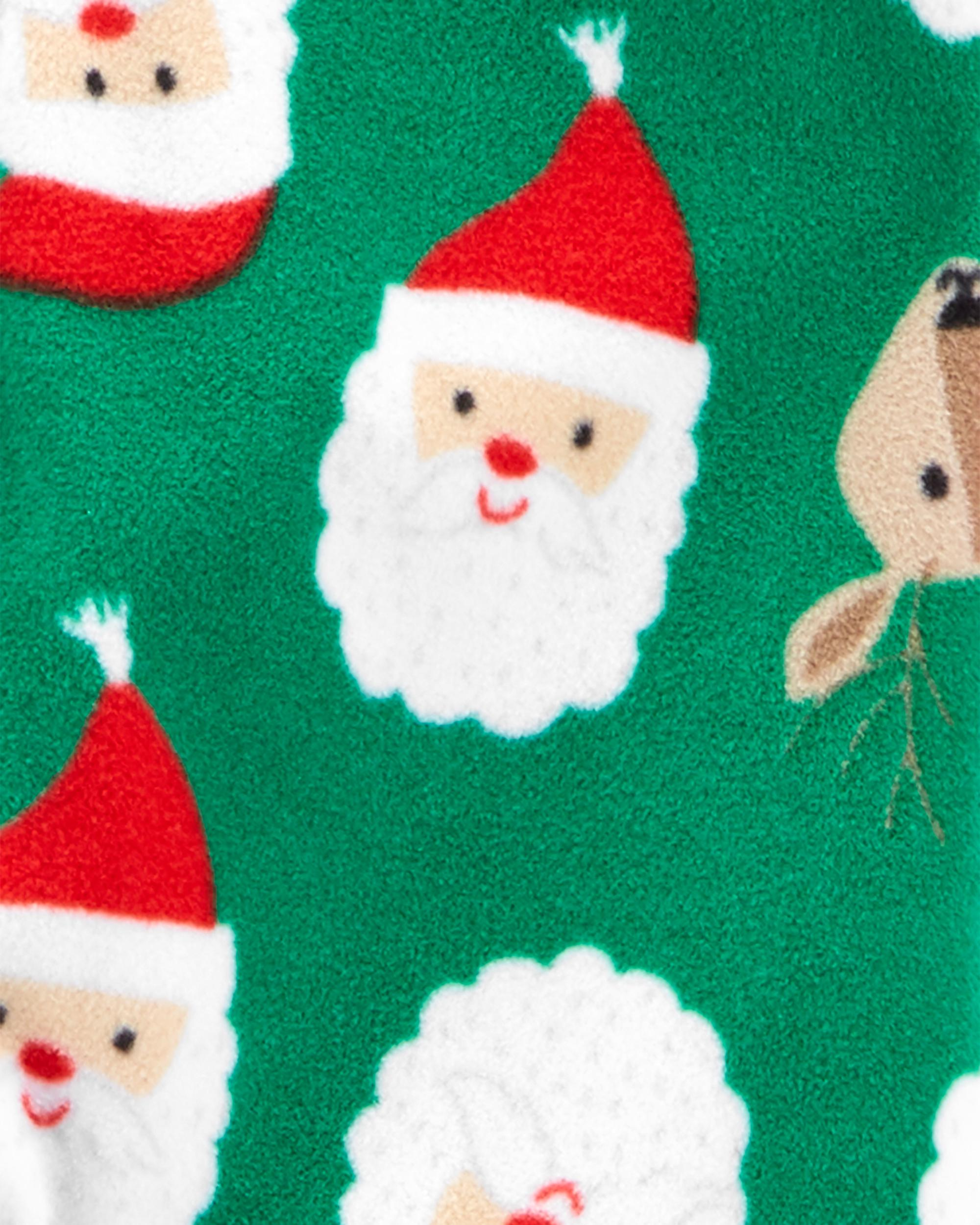Pyjama 1 pièce à pieds en molleton avec Père Noël , , hi-res